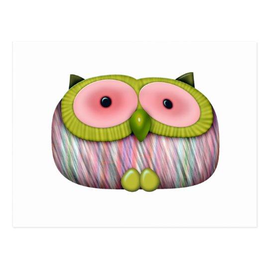 dainty mustard owl postcard