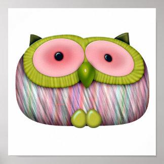 dainty mustard owl poster