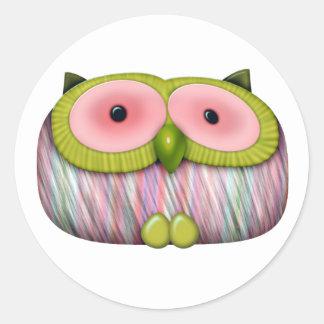 dainty mustard owl round stickers