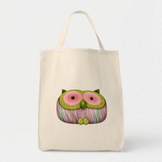 dainty mustard owl tote bag