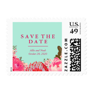 Dainty Pink and Mint Save the Date Postage
