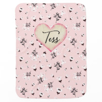 Dainty Pink Baby Heart-and-Floral Design Baby Blanket