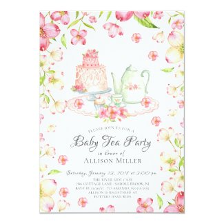 Dainty Pink Floral Baby Tea Party Invitation