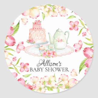 Dainty Pink Floral Baby Tea Party Sticker