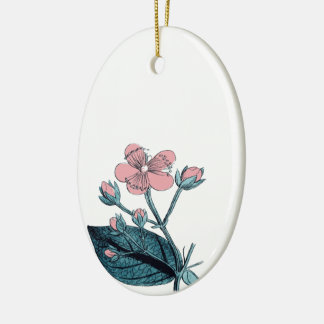 Dainty Pink Floral Ceramic Ornament