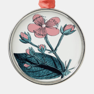Dainty Pink Floral Metal Ornament