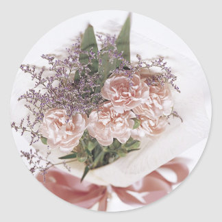Dainty Pink Flower Bouquet Round Sticker