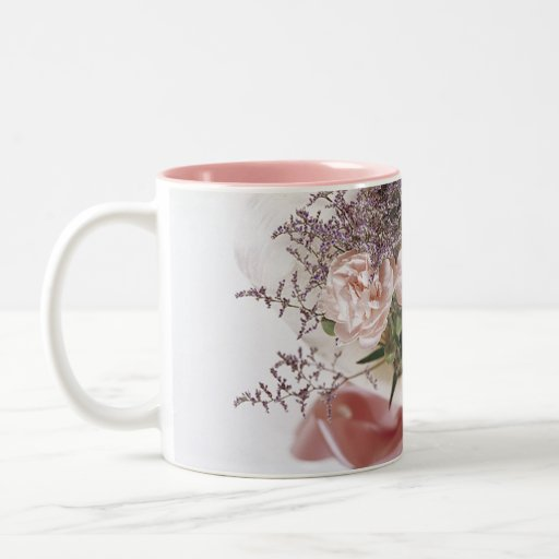 Dainty Pink Flower Bouquet Two-Tone Coffee Mug