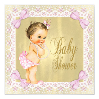 Dainty Pink Gold Foil Bow Lace Girly Baby Shower Card