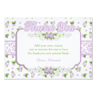 Dainty Rose and Damask Thank You Cards