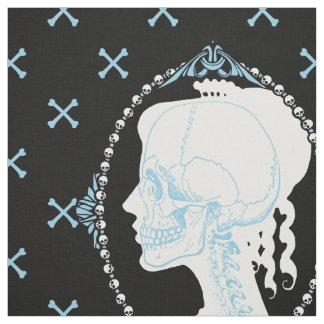 Dainty Skull Cameo Blue Fabric