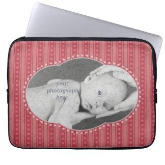 Dainty Stripes Photo Laptop Sleeve - Pink