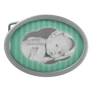 Dainty Stripes Photograph Belt Buckle - Mint Green