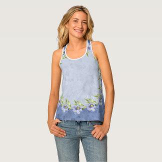 Dainty Stylish Blue Flax Wildflowers Tank Top