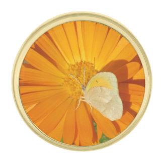 Dainty Sulphur Butterfly on Golden Flower Gold Finish Lapel Pin