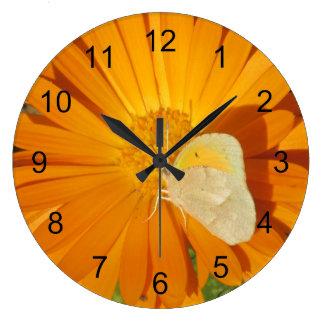 Dainty Sulphur Butterfly on Golden Flower Large Clock