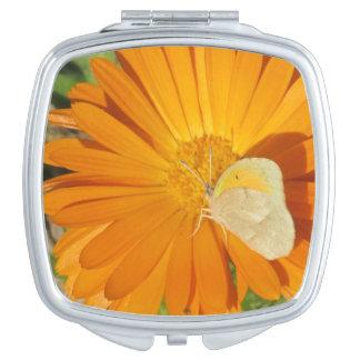 Dainty Sulphur Butterfly on Golden Flower Makeup Mirror