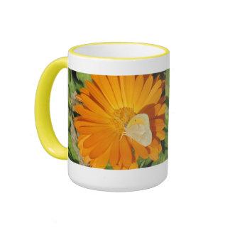 Dainty Sulphur Butterfly on Golden Flower Ringer Coffee Mug