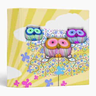 dainty sunny skies owls 3 ring binder