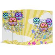 dainty sunny skies owls binder