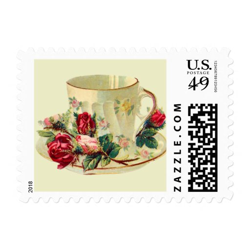 Dainty Teacup with Roses Postage Stamps