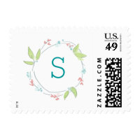 Dainty Watercolor Floral Wreath with Monogram Postage