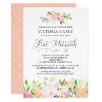 Dainty Watercolor Flowers Bat Mitzvah Invitation