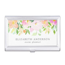 Dainty Watercolor Flowers   Pastel Floral Business Card Case
