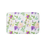 Dainty Watercolor Flowers   Peonies and Wisterias Bath Mat