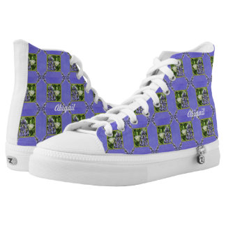 Dainty White Butterflies On Lavender Flowers Printed Shoes