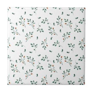 Dainty White Green Floral Pattern Tile