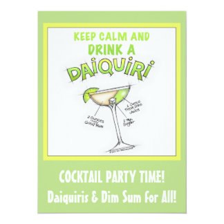 DAIQUIRI RECIPE COCKTAIL ART 5.5X7.5 PAPER INVITATION CARD