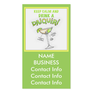 DAIQUIRI RECIPE COCKTAIL ART Double-Sided STANDARD BUSINESS CARDS (Pack OF 100)