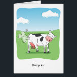 """Dairy Air Cow Fart Funny Birthday Card<br><div class=""""desc"""">Humorous cartoon of a cow farting with the phrase Dairy Air playing off the word derriere.</div>"""