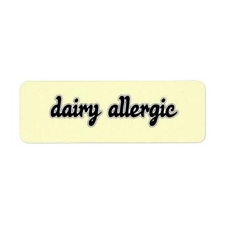 Dairy Allergic Label