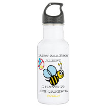 Dairy Allergy Alert Bumble Bee Personalized Stainless Steel Water Bottle