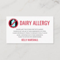 Dairy Allergy Alert Restaurant Chef Card