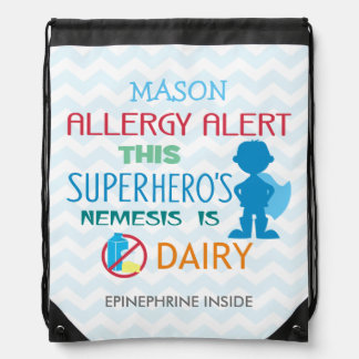 Dairy Allergy Alert Superhero Boy Blue Silhouette Drawstring Backpack