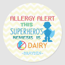 Dairy Allergy Alert Superhero Boy Silhouette Classic Round Sticker