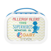Dairy Allergy Alert Superhero Boy Silhouette Lunch Box