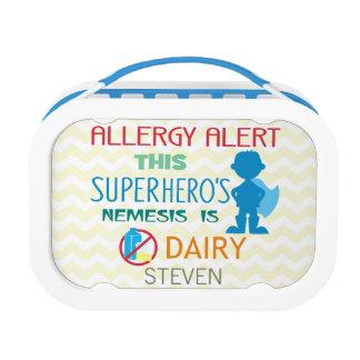 Dairy Allergy Alert Superhero Boy Silhouette Replacement Plate