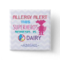 Dairy Allergy Alert Superhero Girl Pink Silhouette Button