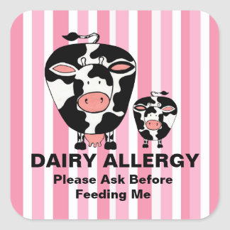 Dairy Allergy Farm Cow Personalized Label Square Sticker