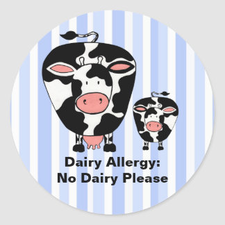 Dairy Allergy Farm Cow Personalized Label Classic Round Sticker