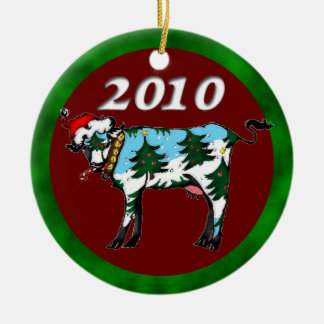 Dairy Christmas: 2010 Double-Sided Ceramic Round Christmas Ornament