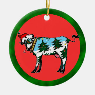 Dairy Christmas Double-Sided Ceramic Round Christmas Ornament