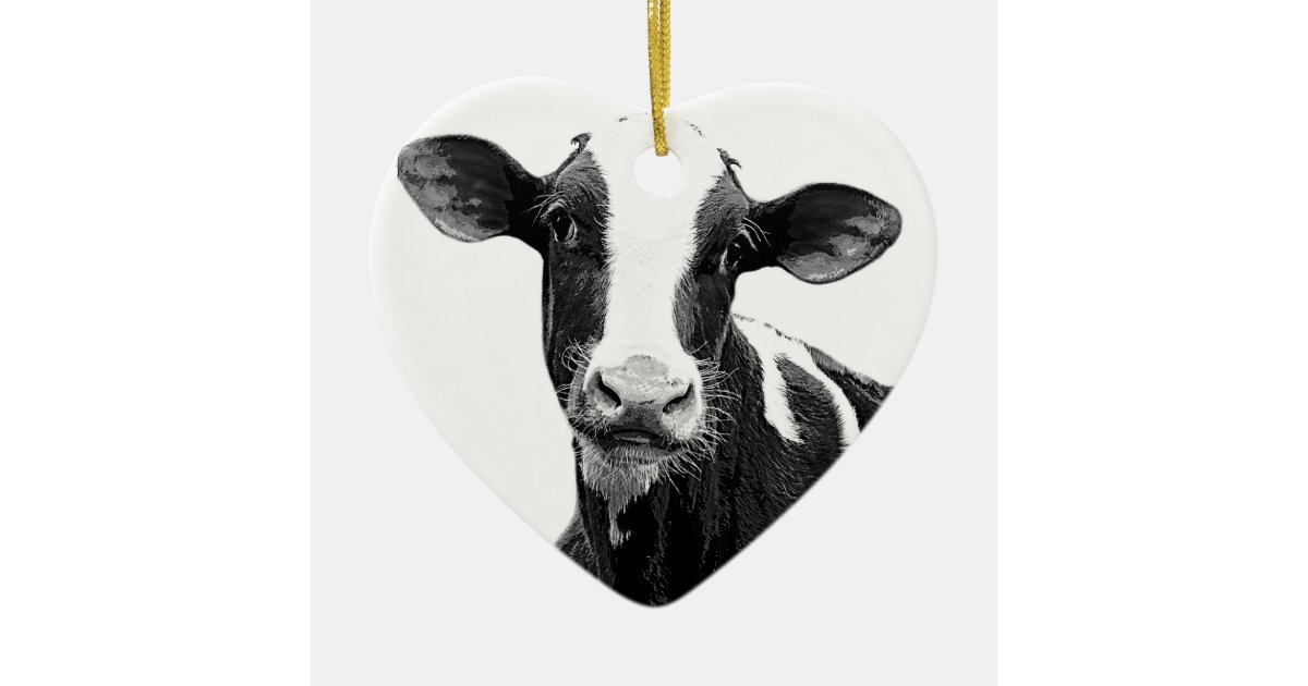 Dairy Cow Black And White Dairy Calf Ceramic Ornament