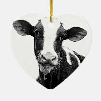 Dairy Cow - Black and White Dairy Calf Double-Sided Heart Ceramic Christmas Ornament