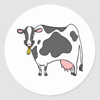 Dairy Cow Cartoon Classic Round Sticker