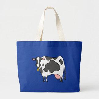 Dairy Cow Cartoon Large Tote Bag